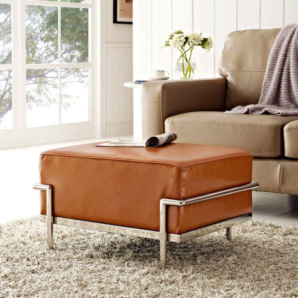Le Corbusier Style Leather Ottoman -Tan