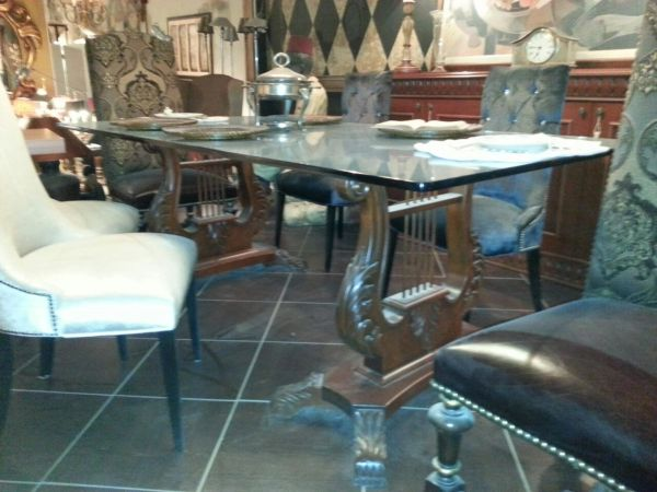 Custom Glass Top Dining Table