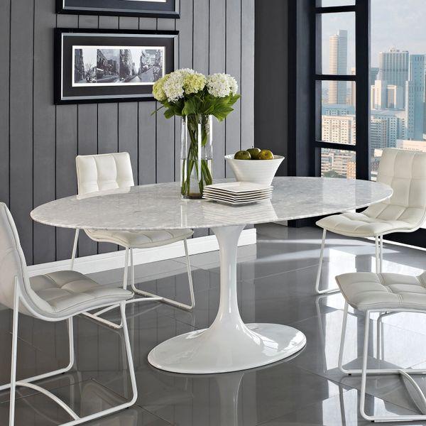 "Saarinen Style Genuine Oval Marble Dining Table-78"""