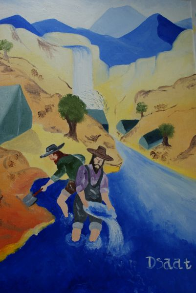 California Gold Rush Painting-A