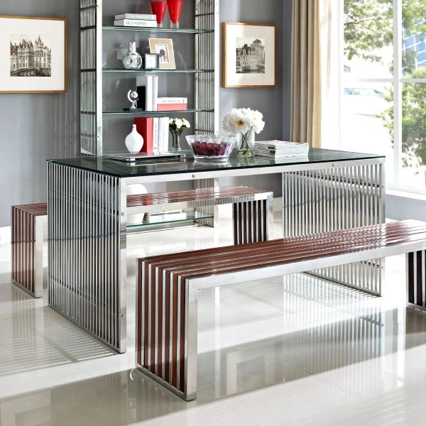"""Jan Gridiron Stainless Steel Dining Table B - 59"""""""