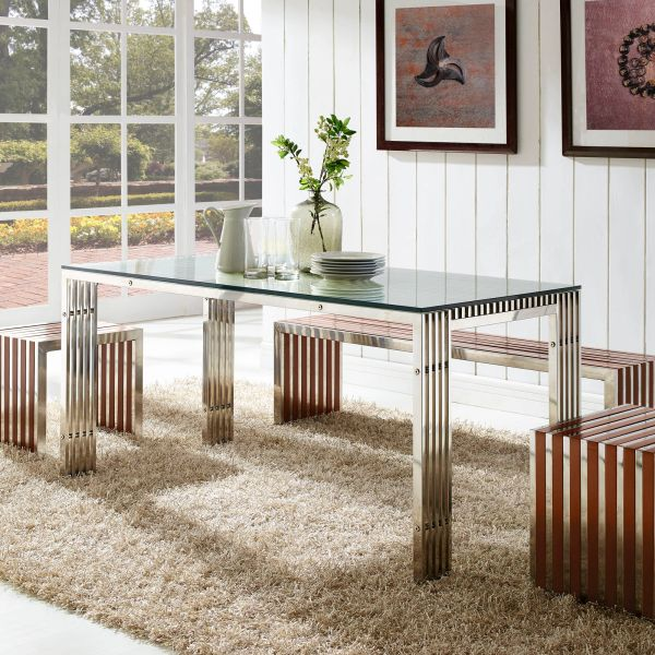 """Jan Gridiron Stainless Steel Dining Table - 59"""""""