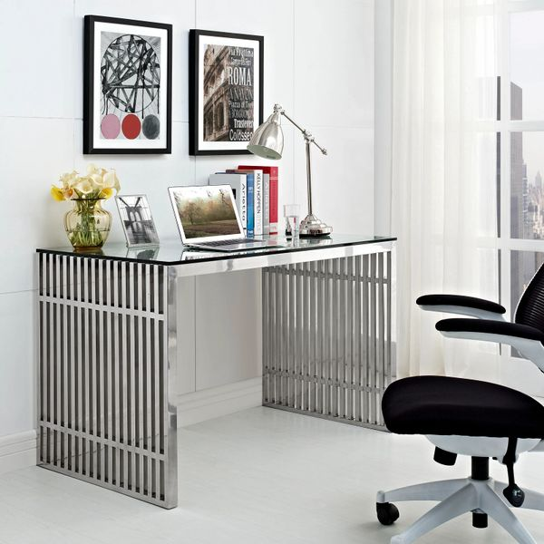 "Jan Gridiron Stainless Steel Office Desk - 48"""