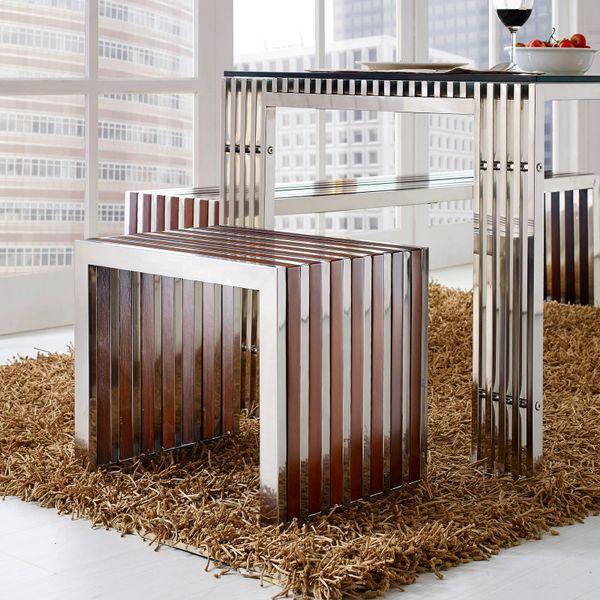 "Jan Gridiron Small Wood Inlay Bench - 20"""