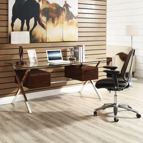 Darrin Office Desk - Glass Top - Walnut Double Side Drawers