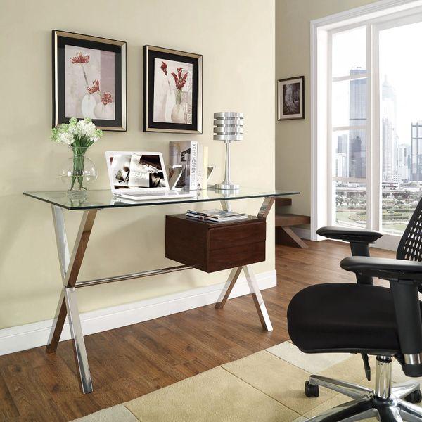 Darrin Office Desk - Glass Top - Walnut Single Side Drawer