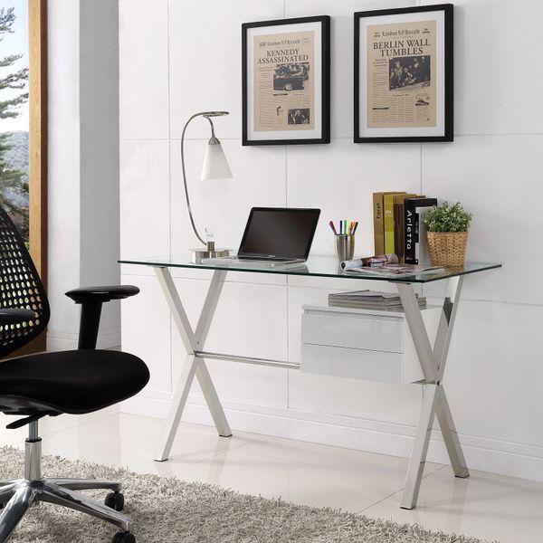 Darrin Office Desk - Glass Top - White Single Side Drawer