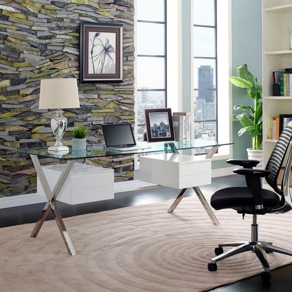 Darrin Office Desk - Glass Top - White Double Side Drawers