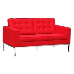 """Florence Knoll Style Loveseat-Red Wool Fabric 58"""""""