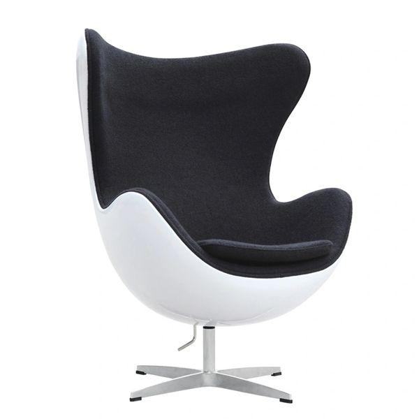 Arne Jacobsen Style Egg Chair Fiberglass in Black Wool