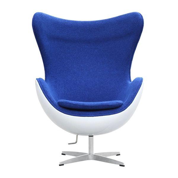 Arne Jacobsen Style Egg Chair Fiberglass in Blue Wool