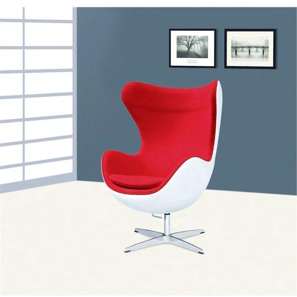 Arne Jacobsen Style Egg Chair Fiberglass in Red Wool
