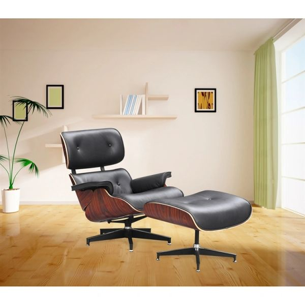 Eames Style Lounge Chair - Black