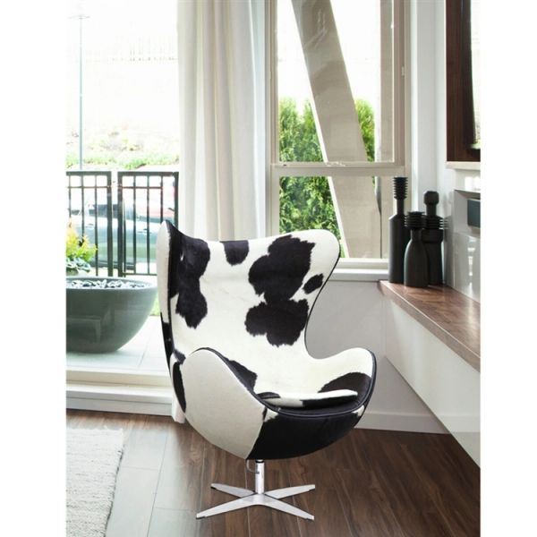Fantastic Arne Jacobsen Style Egg Chair Cowhide Black White Evergreenethics Interior Chair Design Evergreenethicsorg
