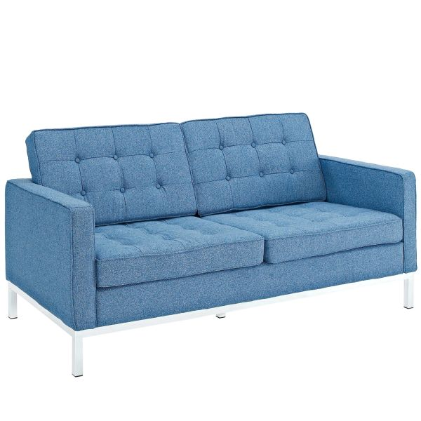 "Florence Knoll Style Wool Loveseat-Blue Tweed-63"""
