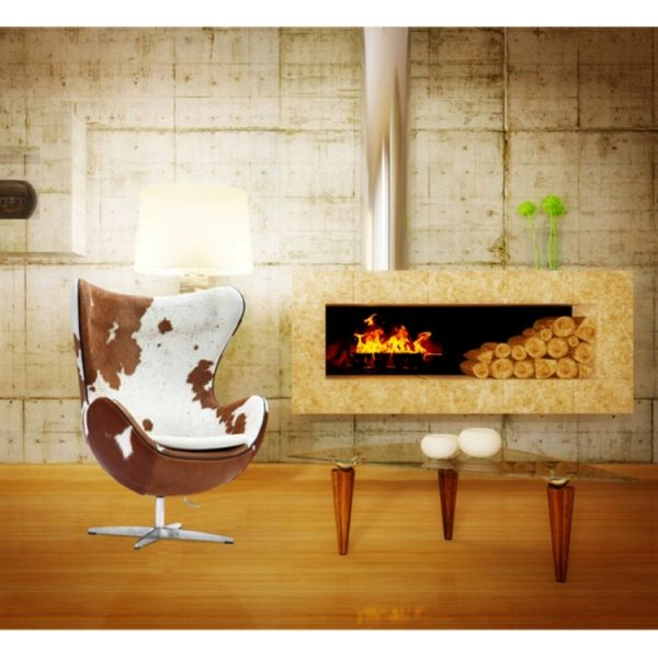 Arne Jacobsen Style Egg Chair Cowhide - Brown & White