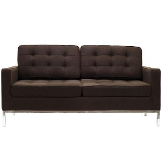 """Florence Knoll Style Wool Loveseat-Chocolate Brown-63"""""""