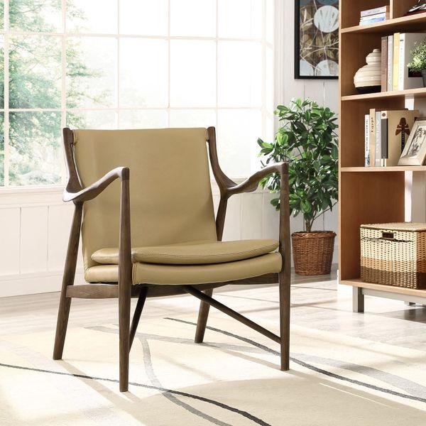 Finn Juhl Style Leather Lounge Chair - Walnut & Tan