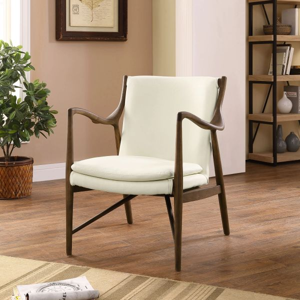 Finn Juhl Style Leather Lounge Chair - Walnut & Cream