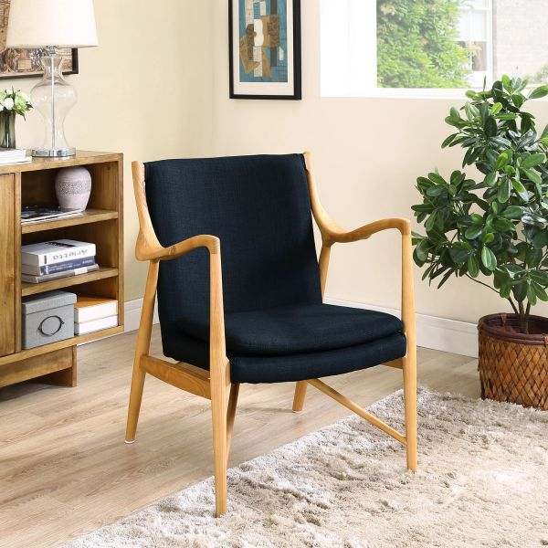 Finn Juhl Style Upholstered Lounge Chair - Birch & Black