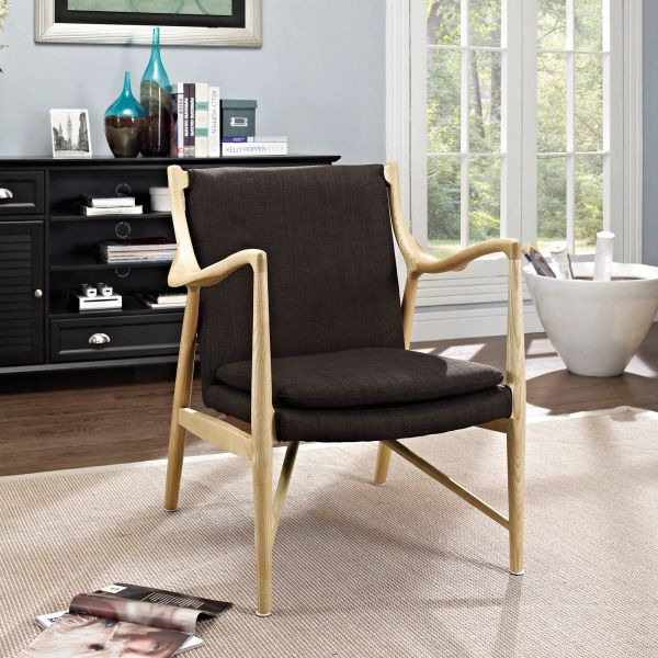 Finn Juhl Style Upholstered Lounge Chair - Natural & Brown