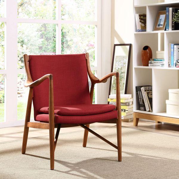 Finn Juhl Style Upholstered Lounge Chair - Maple & Red
