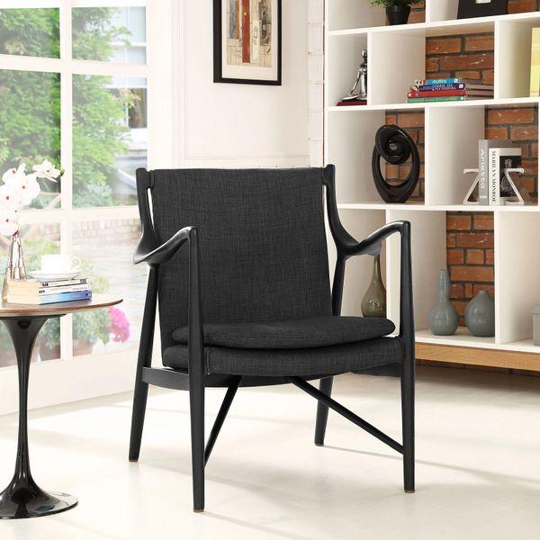 Finn Juhl Style Upholstered Lounge Chair - Black & Gray
