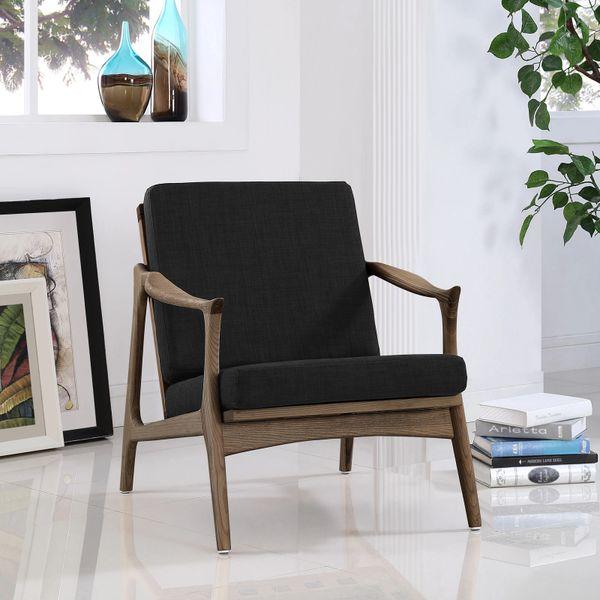 Finn Juhl Style Upholstered Arm Chair - Walnut & Black