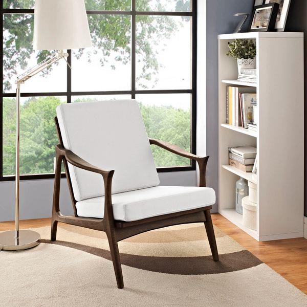 Finn Juhl Style Upholstered Arm Chair - Walnut & White