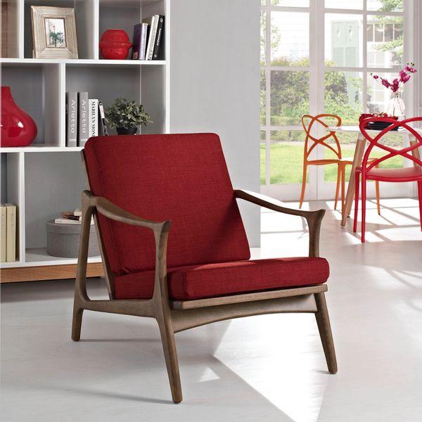 Finn Juhl Style Upholstered Arm Chair - Walnut & Red