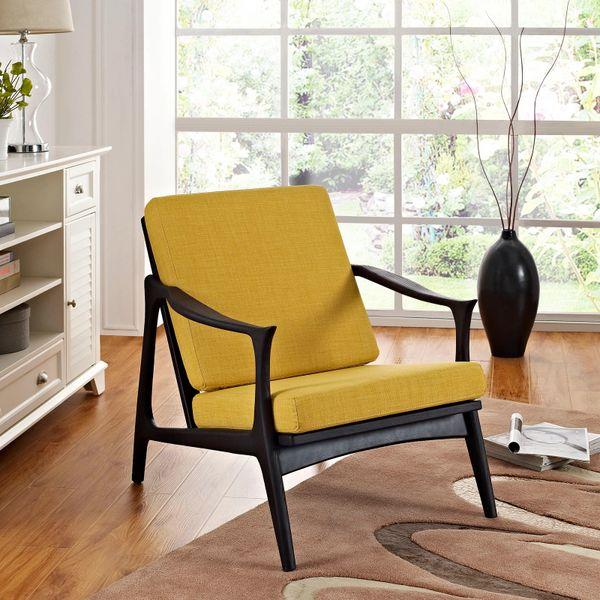 Finn Juhl Style Upholstered Arm Chair - Black & Yellow