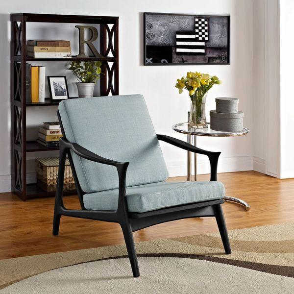 Finn Juhl Style Upholstered Arm Chair - Black & Blue