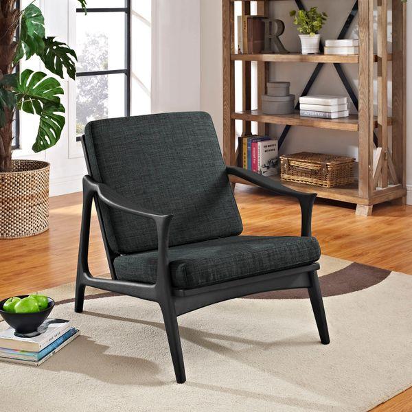 Finn Juhl Style Upholstered Arm Chair - Black & Gray