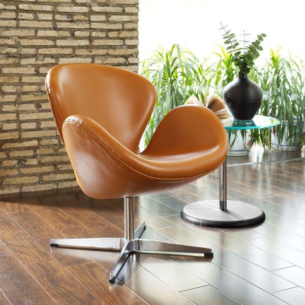 Arne Jacobsen Style Swan Chair - Terracotta Leather