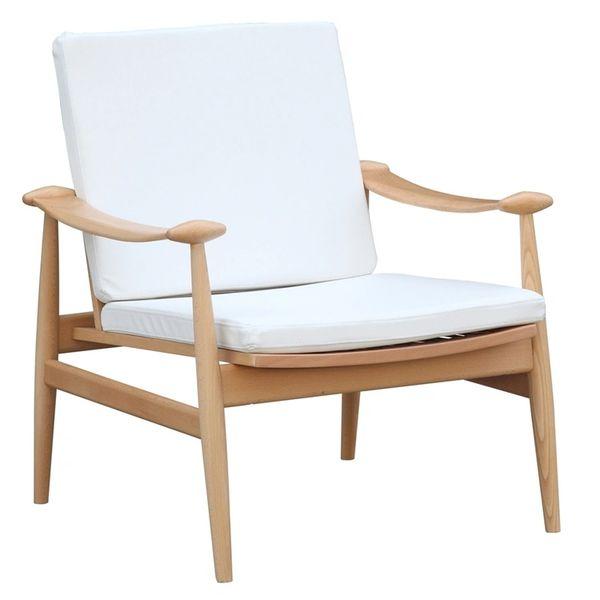 Finn Juhl Style Leather Lounge Arm Chair - White