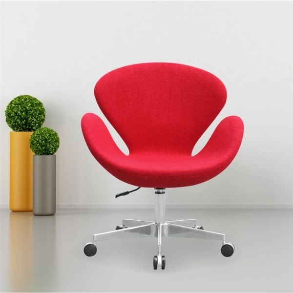 Arne Jacobsen Style Swan Chair with Casters - Red