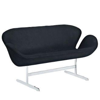 """Arne Jacobsen Style Loveseat - Black - 56"""""""
