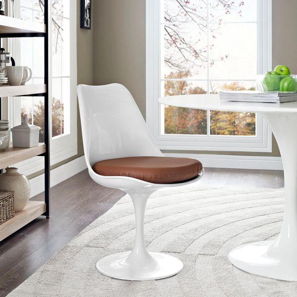 Saarinen Style Side chair-White-Brown Cushion
