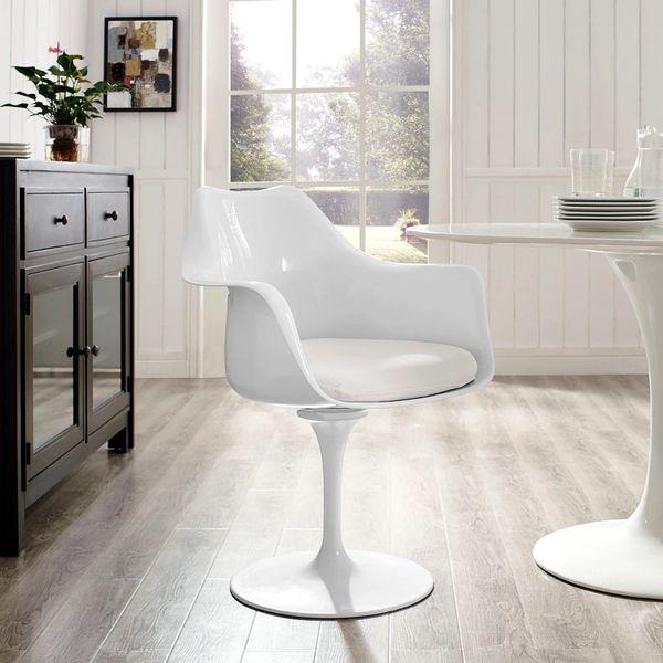 Saarinen Style Armchair-White-White Cushion