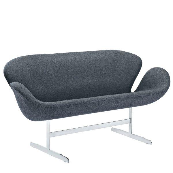 """Arne Jacobsen Style Loveseat - Dark Gray - 56"""""""