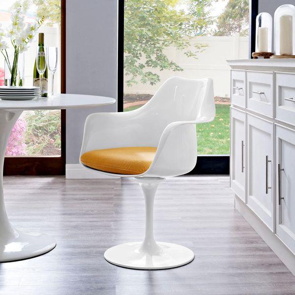 Saarinen Style Armchair-White-Yellow Cushion