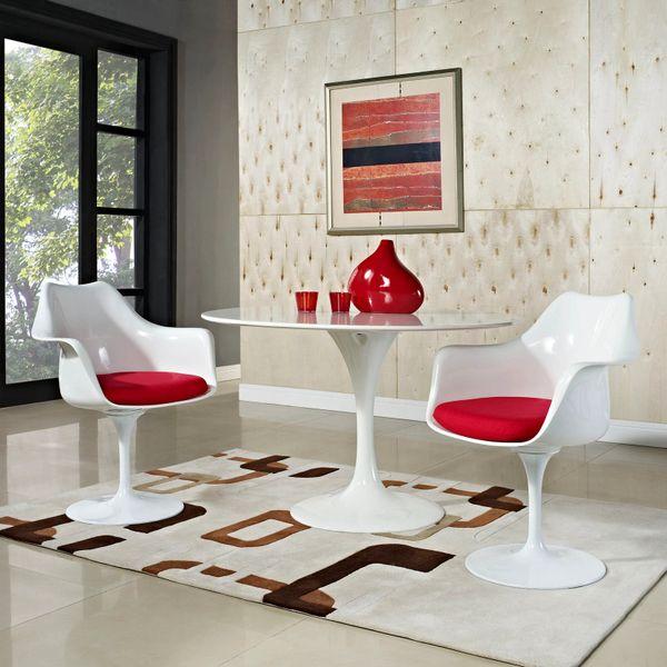 Saarinen Style Armchair-White-Red Cushion