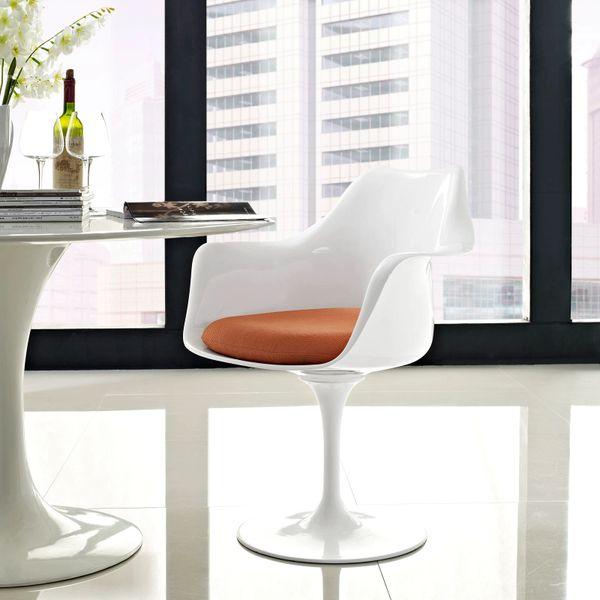 Saarinen Style Armchair-White-Orange Cushion