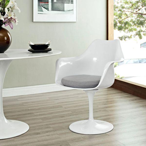 Saarinen Style Armchair-White-Gray Cushion