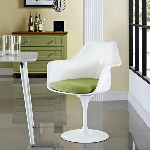Saarinen Style Armchair-White-Green Cushion