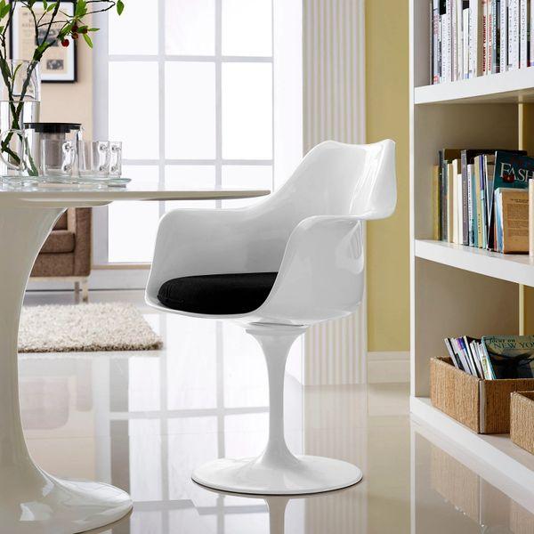 Saarinen Style Armchair-White-Black Cushion