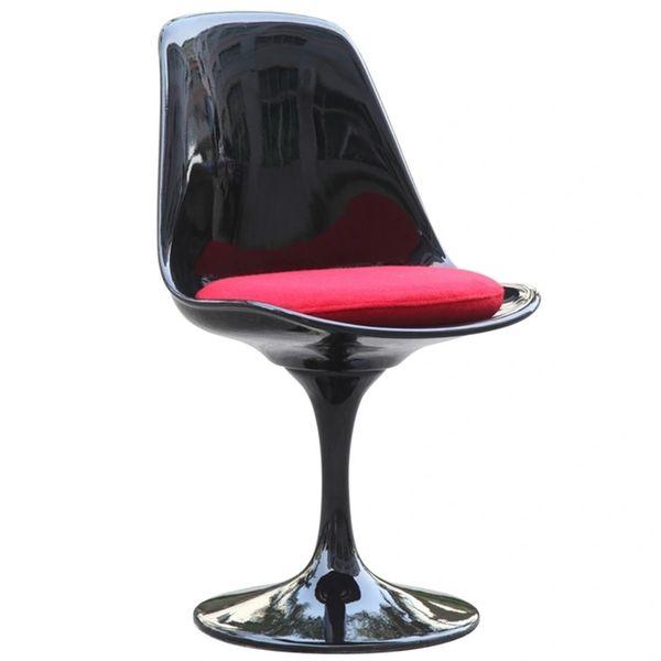 Saarinen Style Side chair-White-Black Cushion