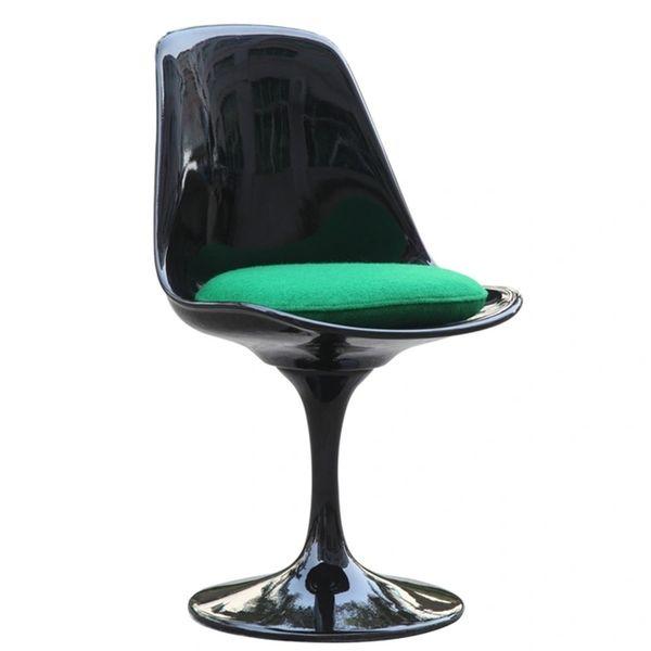 Saarinen Style Side chair-Black-Green Cushion