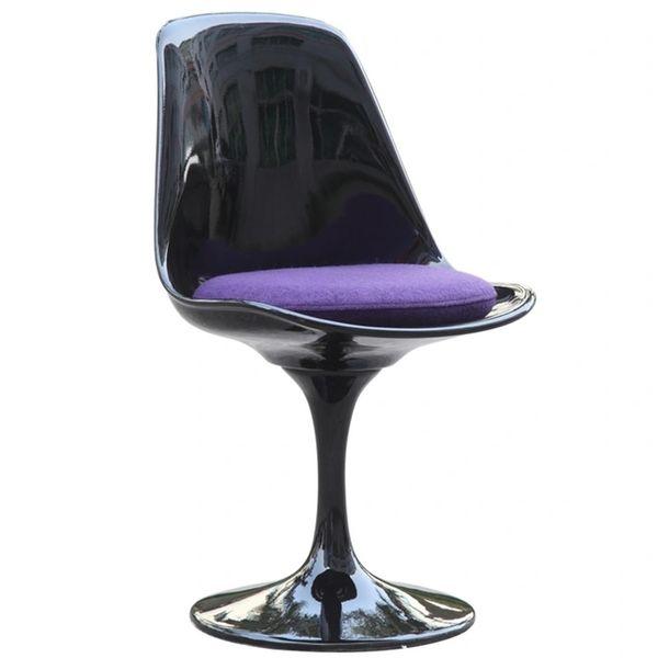 Saarinen Style Side chair-Black-Purple Cushion