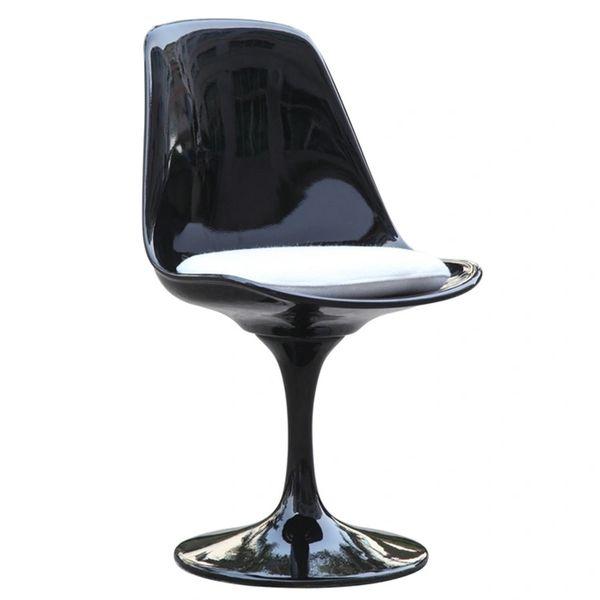 Saarinen Style Side chair-Black-White Cushion
